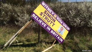 Damaged UKIP sign