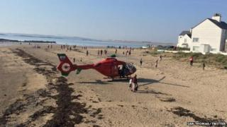 air ambulance rescue on Anglesey