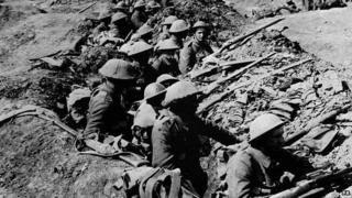 Soldiers in a WW1 trench
