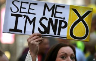 An activist holds a pro-SNP sign in Stirling