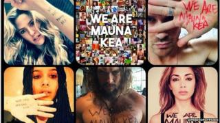 Medley of photos from celebrities saying: We are Mauna Kea