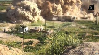 Still from IS video, reportedly showing explosion at the ancient site of Nimrud
