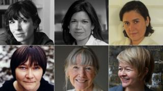 Clockwise from top left: Rachel Cusk, Laline Paull, Kamila Shamsie, Sarah Waters, Anne Tyler, Ali Smith