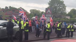 Loyalists protested outside Howard Primary School during last year's elections
