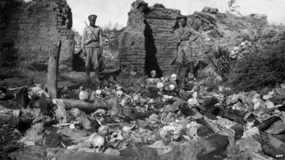 Skulls in ruined Armenian village of Sheyxalan, 1915 (pic from Armenian Genocide Museum-Institute)