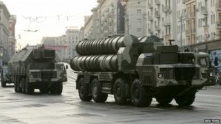 Russian S-300 anti-missile rocket systems move along a central street during a rehearsal for a military parade in Moscow - 2009 file photo