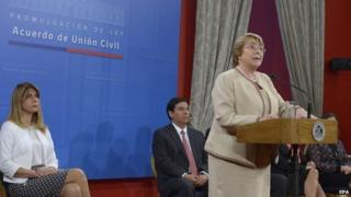 President Michelle Bachelet during the enactment of the law in Santiago. April 13, 2015