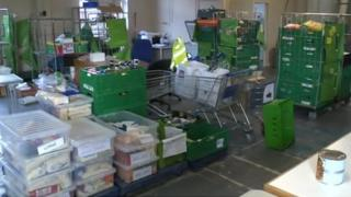 Goods inside ReadiFood food bank in Reading