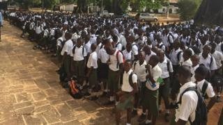 Pupils at the Prince of Wales school in Freetown