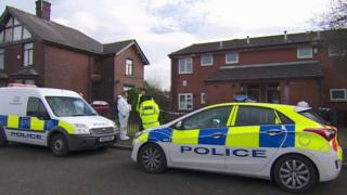 Police at the house in Carnaby Street, Moston