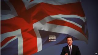 David Cameron and Union flag