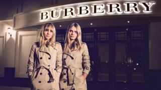 Burberry logo and models