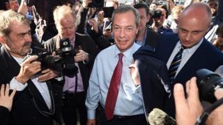 Nigel Farage arrives at UKIP press launch