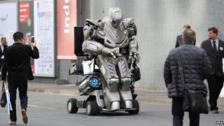 A robot makes its way through the streets of Hanover, Germany