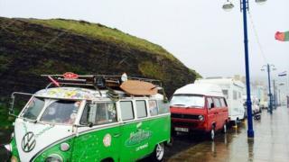 Motor homes parked on Aberystwyth promenade