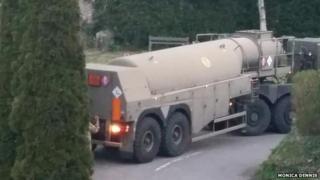 Lorry blocking road