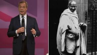 Nigel Farage and Mahatma Gandhi