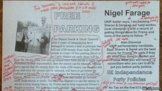 UKIP immigration leaflet marked with red pen