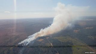 Aerial image of the heathland fire at Pirbright, Surrey