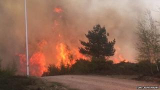 Pirbright heathland blaze