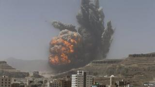 Smoke rises from an explosion in Sanaa