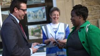 Dr Clive Peedell out campaigning in David Cameron's constituency