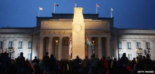 Dawn service on Anzac Day outside the Cenotaph in Auckland (April 2009)