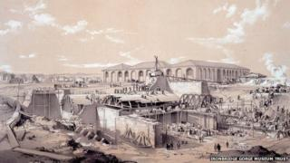 John Cooke Bourne's drawing of the building of the stationary engine house at Camden Town