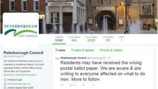 Peterborough City Council's Twitter feed