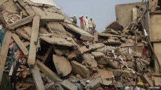 Collapsed Rana Plaza building