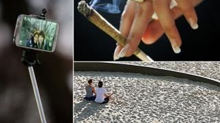 """Composite image showing, clockwise from left, a photograph taken using a """"selfie stick"""", a cannabis joint and a couple meditating on a beach"""