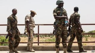 Nigerian troops pictured on 25 March 2015 near Bama