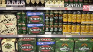 Beers on shelves
