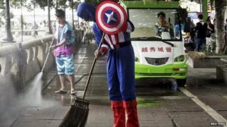captain america sweeping