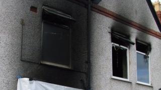 The fire-damaged flat in Prestatyn