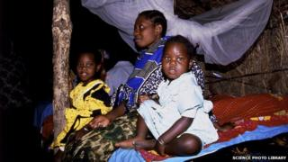 Family affected by malaria in Tanzania