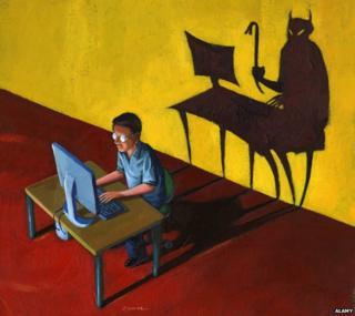 Illustration - devil lurking behind man on computer