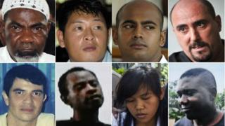 Top row from left: Ghanaian Martin Anderson, Australians Andrew Chan and Myuran Sukumaran, Frenchman Serge Atlaoui. Bottom row: Brazilian Rodrigo Gularte, Nigerian Raheem Agbaje Salami, Filipina Mary Jane Fiesta Veloso, and Nigerian Sylvester Obiekwe Nwolise