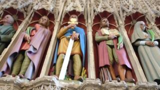 New statues, St Albans Chathedral