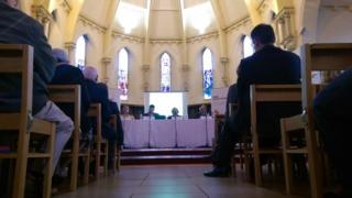 Hustings in a chapel