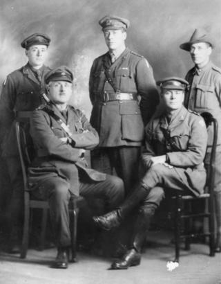 (from back left) Major Benjamin Bennett Leane; Lieutenant Colonel Raymond Lionel Leane; Ernest Albert Leane. Seated: Major Edwin Thomas Leane and Major Allan William Leane.
