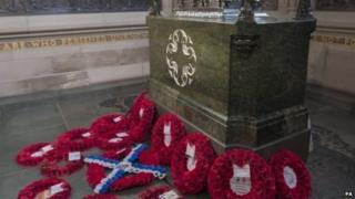Wreaths at National War Memorial in Edinburgh