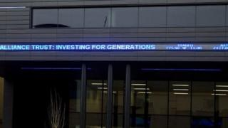 Electronic read-out of share prices along its front of the Alliance Trust building