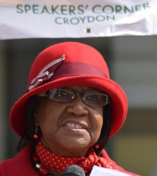 A speaker from the Older People's Network at the People's Hustings in Croydon