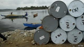 Used oil barrels