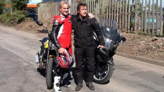 Carl Fogarty (left) and Richard Hammond (right) lead the charity ride for Midlands Air Ambulance