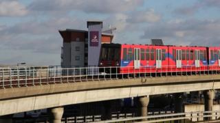 view from Prince Regent Station of the Docklands Light Railway