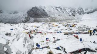 A base camp at Mount Everest after a huge earthquake-triggered avalanche