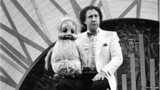 Keith Harris, ventriloquist, performing with puppet Orville the Duck during the Royal Variety Performance, at the Victoria Palace Theatre, London, 19th November 1984