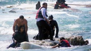 Eritrean being rescued in the coast off Greece 20 April 2015